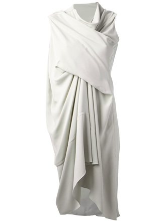 dress rick owens draped dress white dress
