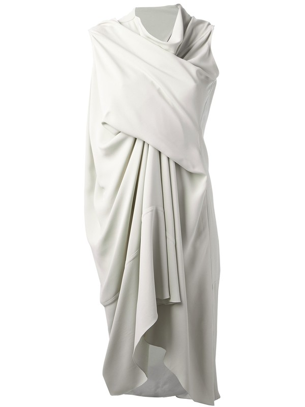 dress rick owens draped dress white dress