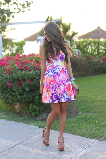 southern curls and pearls blogger roses spring dress floral dress jewels sunglasses bag make-up tory burch dress purple pink white spring wedding lovely