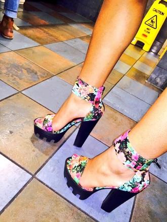 shoes flora floral flowers heels high platform shoes