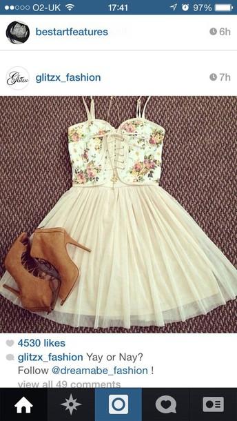 dress boots floral dress floral top style ballet dress puffy princess