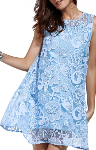 dress light blue fashion trendy elegant classy summer spring lace dress dezzal