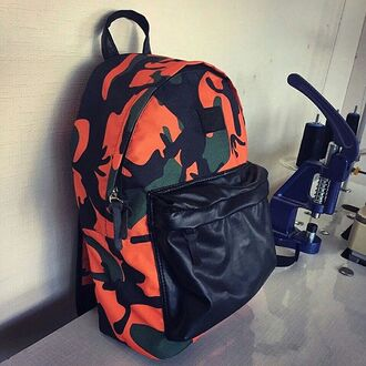 bag backpack printed backpack print printed bag black leather fusion camouflage rucksack