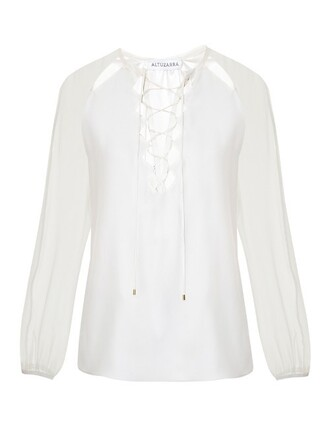 blouse cut-out silk top