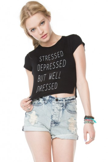 Brandy Melville Stressed Depressed But Well Dressed Top