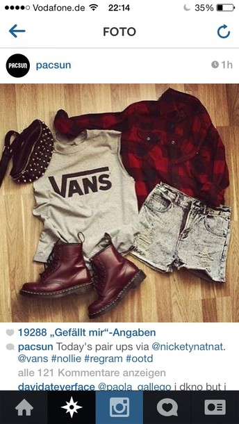 jeans idk bag shirt shoes jacket and the other things :) vans sunglasses shorts sweater tank top plaid High waisted shorts t-shirt