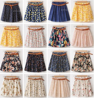skirt lifestyle cute skirts spring spring outfits church sweet floral skirt blue skirt yellow belt pleated skirt