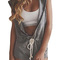 Light gray front zip hooded drawstring waist sleeveless playsuit - nextshe.com