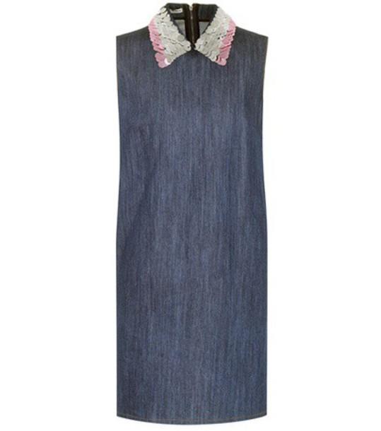 Miu Miu denim embellished embellished denim blue dress