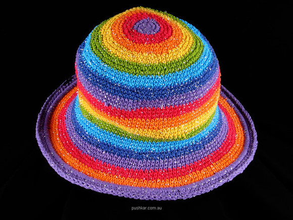 hat knitted rainbow hat crochet crochet hat floppy hat rainbow