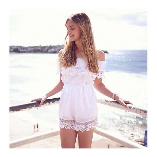b6315f05ec50 dress white romper lace off the shoulder lace hemline