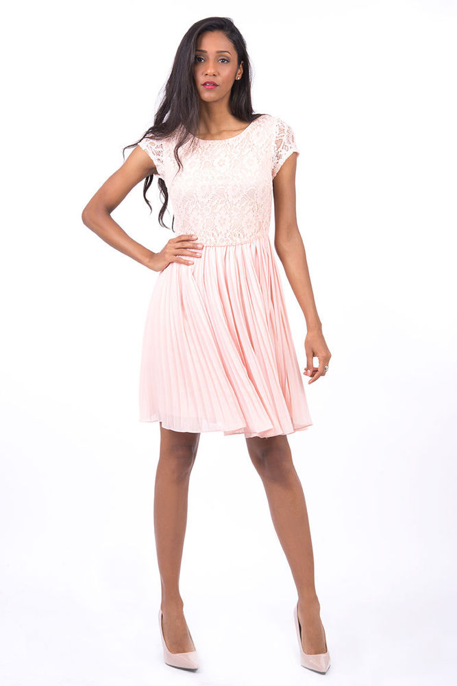 Ladies women's baby pink cap sleeve lace chiffon pleated dress 10 12 14