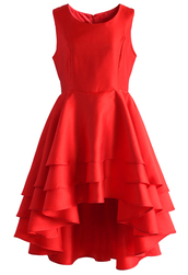 dress,la belle waterfall prom dress in ruby,chicwish,prom dress,floral dress,chic,red