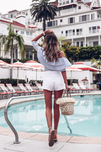 vivaluxury - fashion blog by annabelle fleur: nyfw mini moment blogger top shorts bag jewels summer outfits off the shoulder top ruffled top basket bag white shorts