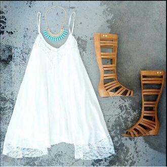 dress white shoes white dress knee high gladiator sandals
