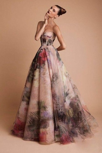 dress floral prom dress prom formal ball gown dress print ball gown floral dress formal dress evening dress prom gown flowe long dress multicolor corset top corset dress flowy dress pink pretty