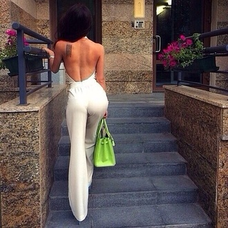jumpsuit girly white body bodysuit classy and fabulous tailleur combinaison white backless jumpsuit white jumpsuit open back backless palazzo jumpsuit bag green bag neon bag neon date outfit summer outfits