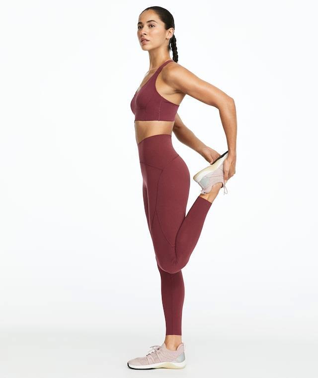 burgundy compression leggings