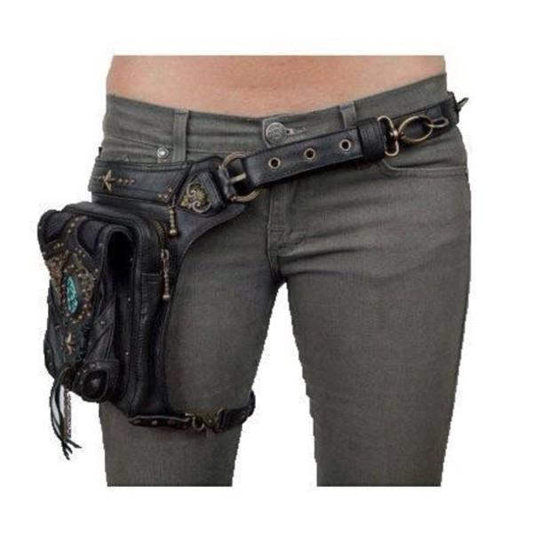 bag pouch purse leg brown black Accessory jeans beaded chain cool belt