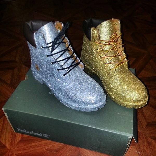 custom timberland boots glitter