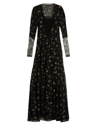 gown chiffon floral print silk black dress