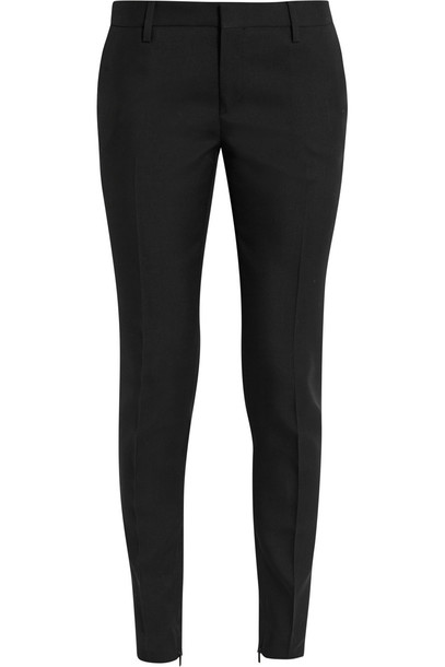 Saint Laurent Wool-Gabardine Slim-Leg Pants in black
