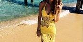 dress,yellow,yellow dress,beach dress,crochet,crochet maxi dress