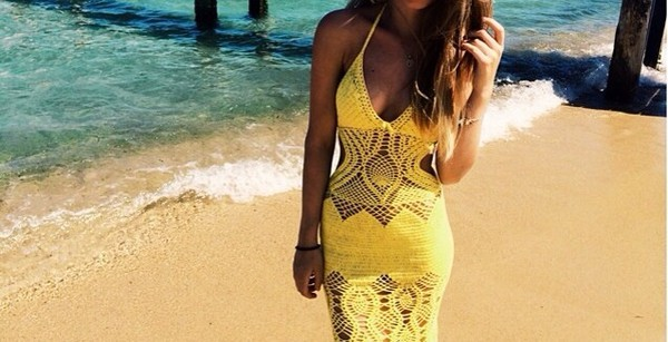 dress yellow yellow dress beach dress crochet crochet maxi dress