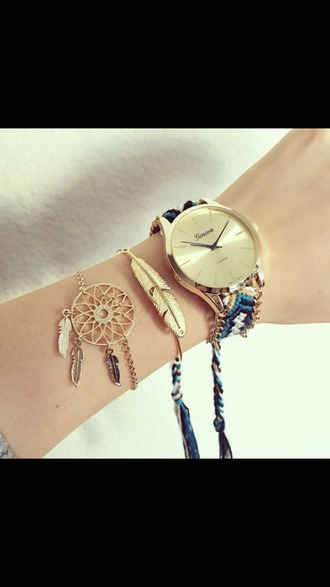 jewels gold watch watch hippie feathers jewelry dreamcatcher dreamcatcher bracelet stacked bracelets bracelets gold boho