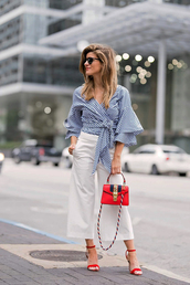 top,tumblr,work outfits,office outfits,bell sleeves,gingham,bag,red bag,pants,white pants,culottes,sandals,sandal heels,high heel sandals,red sandals,shoes,sunglasses