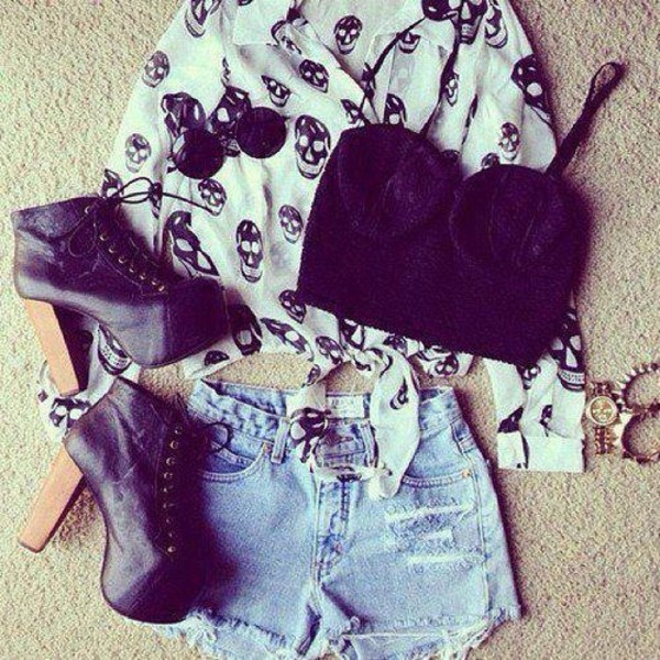 shoes black platform shoes heel shorts jeans bralette chiffon shirt jewelry sunglasses blouse skull print denim shorts white chiffon black corset t-shirt bralette bustier High waisted shorts skull grunge heels