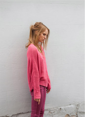 pink sweater,sweater,pants,pink,fluffy,bright,snuggly