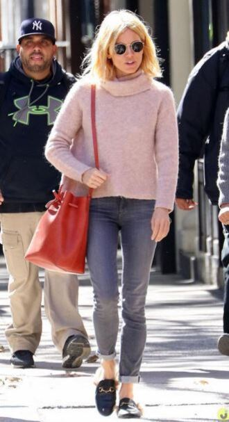 sweater turtleneck fall outfits sienna miller pink sweater