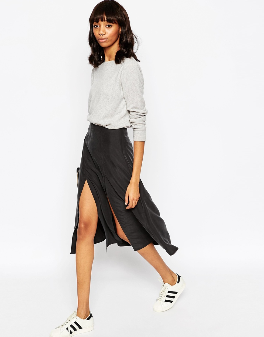 popular design structural disablities customers first ASOS Soft Wrap Midi Skirt with Splices at asos.com