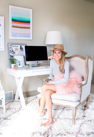 hello fashion blogger dress hat pillow desk chair girly