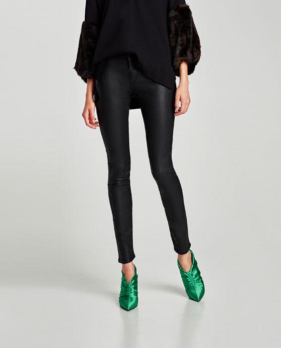 Pantalón Zara España Piel Efecto Medio Jeans Ver Todo Tiro Mujer TWOrn4AT