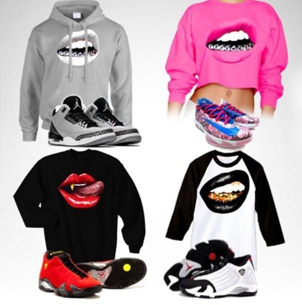 6523c80004f5d2 crewneck pink black jordans hoodie grey sweater grey grey gray hoodie red  crop tops shoes