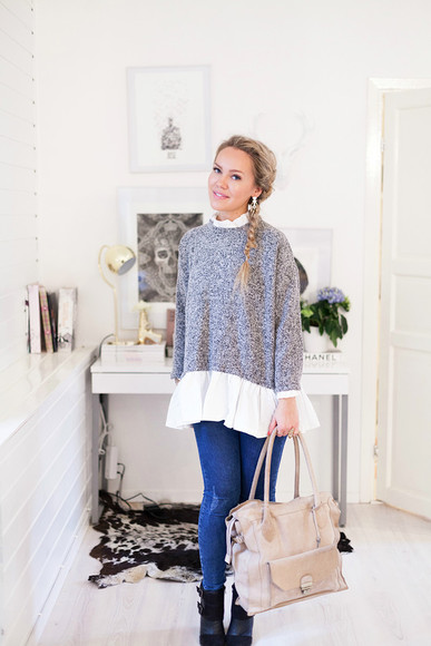 bag sweater black cute grey shoes blouse white pretty jeans boots denim