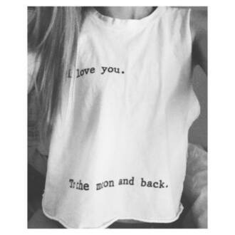 t-shirt i love you oversized t-shirt i love you to the moon and back shirt i love you to the moon and back moon muscle tee love you duh shirt bag letters bags white white bag fashion handbag canvas bag clothes ralph lauren white t-shirt tank top white top