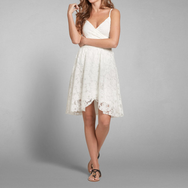 dress white summer spring love lovely sweet girl girly floral beach abercrombie & fitch want it!!!