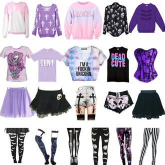 sweater pastel goth cute sweaters shoes shorts t-shirt skirt