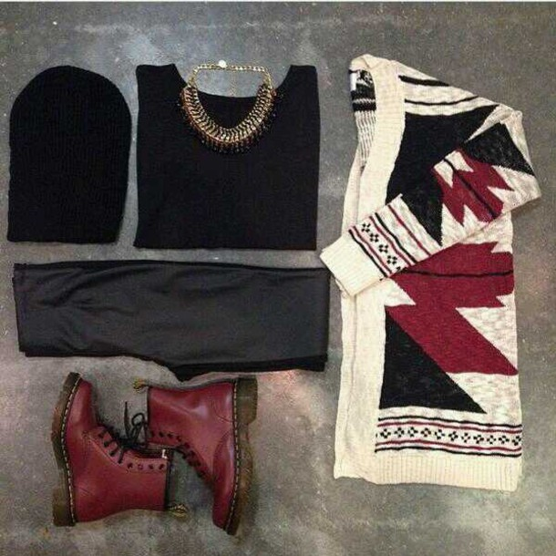 jacket burgundy tribal cardigan cardigan wine sweater black