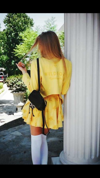 dress yellow clueless long socks white vintage fashion short skirt leather backpack small backpack