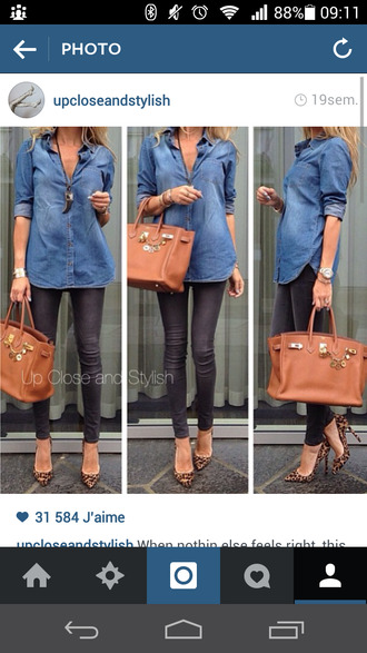 shirt heels leopard print louboutin denim hermes bag camel necklace shoes jewels
