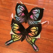 underwear,bra,rave bra,colorful,rave,sparkle,butterfly,black