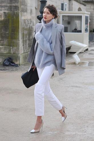 jeans black clutch cropped bootcut white jeans cropped bootcut jeans cropped jeans white jeans pumps high heel pumps clutch sweater grey sweater turtleneck sweater blazer grey blazer spring outfits coat