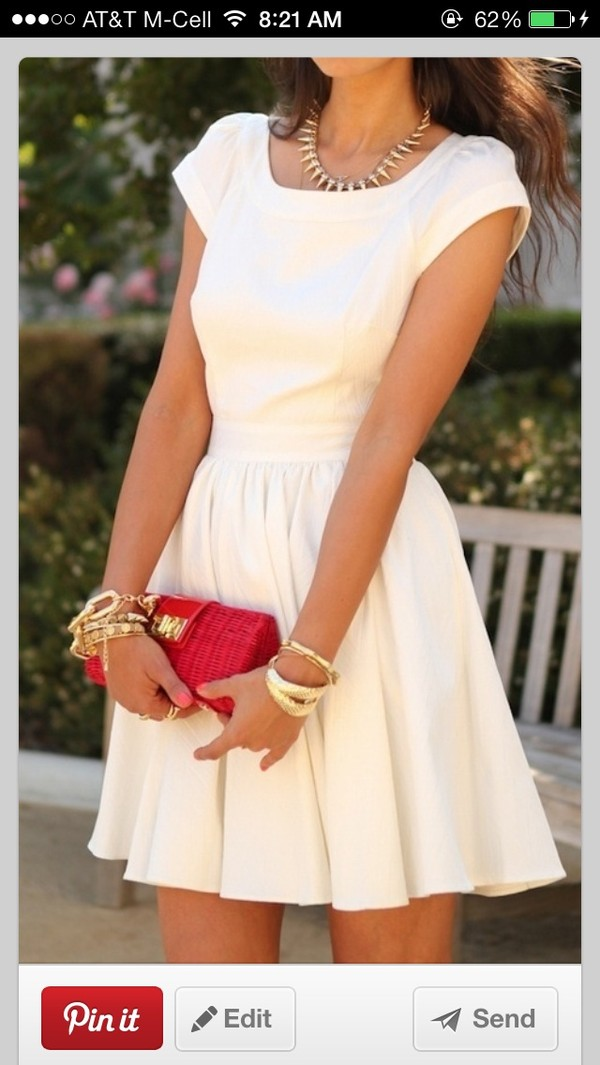 dress white cap sleeve fit and flare