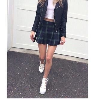 skirt summer skirt indie skirt blue skirt checked shirt tennis skirt pleated skirt urban jacket