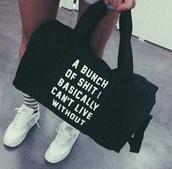 bag,black,black and white,black bag,handbag,white letters,thug life