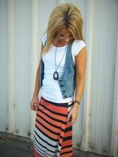 skirt,vest,shirt,necklace,bracelets,jewels,jacket,stripes,orange,maxi,black,white